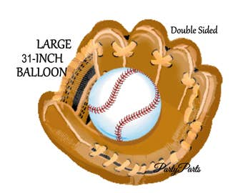 Baseball balloon, glove, mitt, catcher, sports party decorations, 31 inch, helium balloon, mylar, foil, 1CT, DIY party supplies, graduation
