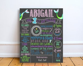 personalized mermaid first birthday stats board, custom under the sea first birthday chalkboard sign, girls nautical birthday decorations