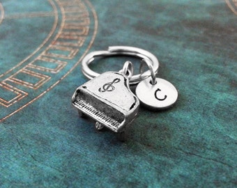 Piano Keychain SMALL Silver Piano Keyring Personalized Keychain Pianist Gift Music Keychain Musician Gift Piano Gift Classical Music Gift