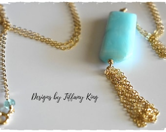 Peruvian Blue Opal, handcrafted 14kt gold fill, long necklace