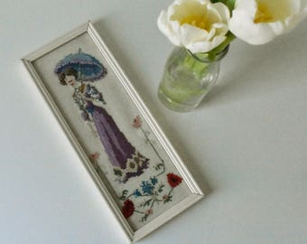 Vintage Embroidery of a Lady with a parasol in the early 1900 18012