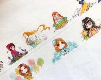 Samples - washi tape samples watercolor cute fairy tale girls 60cm <F206>