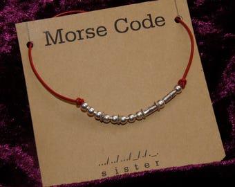 "Morse Code ""sister"" Necklace"