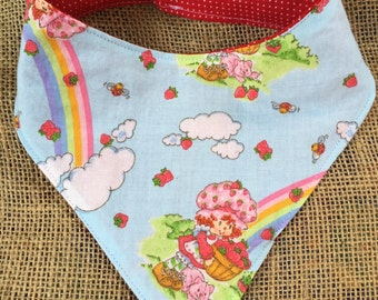 Strawberry Shortcake Inspired Bib, Bandana Bib, Drool Bib, Handkerchief Bib, Bibdana, geeky baby clothes, baby scarf, comic baby shower