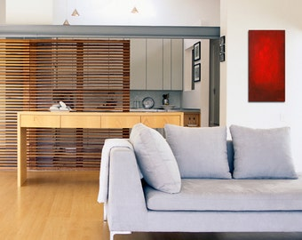 Red abstract painting, red contemporary art, red modern art,  12 x 24  Abstract 130 - abstract wall art, dining room art, mid century modern
