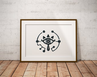 Legend Of Zelda, Breath Of The Wild, Sheikah Eye, Game, Stippling, Black And White Ink Drawing, Giclee Print