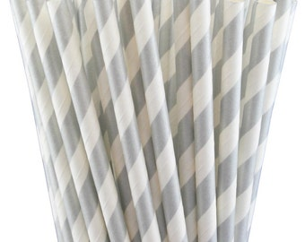 25 Silver Striped Paper Straws-7.75 Inches-Metallic Silver and White-Party Straws-Shower-Wedding-Party-Biodegradable