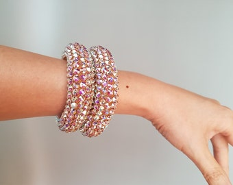 Swarovski Crystallized Soft Bangle, Jewellery for Dance, Wedding or any events