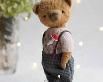 Artist Teddy Bear   Theo -  artist teddy OOAK, viscose fabric, art toy collectible, teddy bear