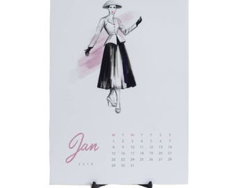 Vintage fashion calendar 2018, A5 desk calendar, fashion illustration, Dior, french fashion