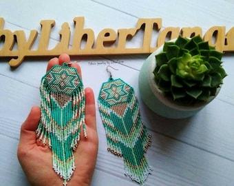 Beaded earrings, seed bead earrings, bead earrings, native beaded earrings, long beaded earrings, bead earrings, turquoise beaded earrings