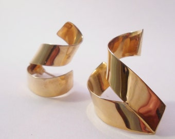 Modernist Sterling Earrings With Gold Wash Signed SyB with 14K Posts 1980's Sandra Baker