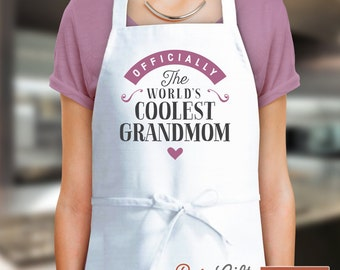 Grandmom Gift, Birthday Gift For Grandmom! Funny Apron, Coolest Grandmom, Cooking Gift, Personalized, Present For Grandmom, Grandmom Shirt