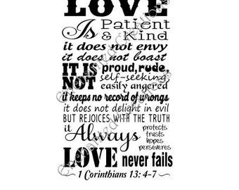 SVG file - Love is Patient - 1 Corinthians 13: 4-7