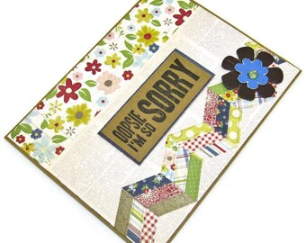 Handmade Sorry Card - Oopsie I'm So Sorry - Apology Card - Homemade Card - Hand Crafted Card - Papecraft - Kraft Card - Floral Card
