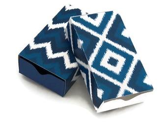 set of 12 - DIY Ikat print match box -  tribal print sliding box - wedding favor box - jewelry gift box
