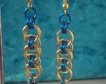 Blue and Gold chainmaille earrings