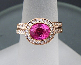 AAAAA Vivid Pink Tourmaline   7.5x5.8mm  1.30 Carats   Oval 14K Rose gold Halo bridal set with .35cts of diamonds. 789