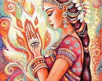 praying woman, spiritual art, inspirational painting, Indian goddess print, yoga lotus art, beauty painting print 8x10+