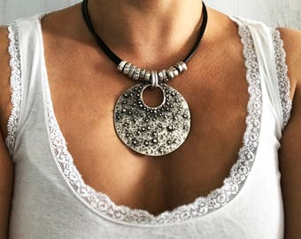 Boho Necklace Large Bohemian Jewelry Tribal Jewelry Leather Necklace Statement Bold Chunky Necklace Ethnic Necklace Bohemian Necklaces