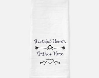 Grateful Hearts tea towel