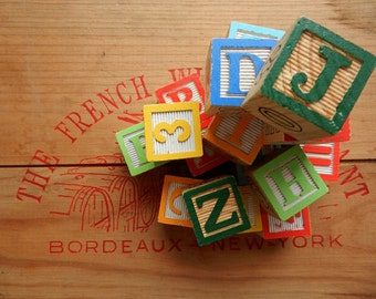 Vintage Wood Blocks . Set of Twenty . Assorted Letters, Numbers and Symbols . Altered Art/Mixed Media Projects . Vintage Toy