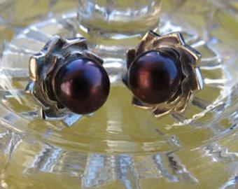 Black Pearl Earrings - Peacock Black Pearl Post Earrings - Black Pearl and Sterling Silver Posts