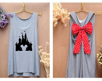 I'm Mickey mouse castle Disney Tank Premium with Bow : Workout Shirt - Keep Calm Shirt - Tank Top - Bow Shirt - Razor Back Tank