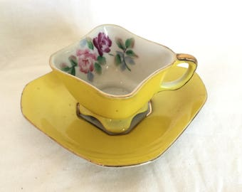 Vintage Tea Cup and Saucer Yellow Merit Occupied Japan Floral Gold Trim