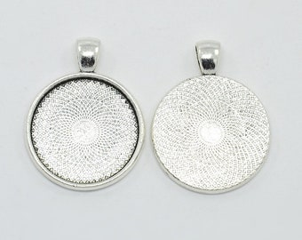 1 round pendant silver pr cameo or cabochon 36 x 25 mm