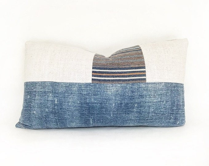 Antique Chinese Indigo, Vintage Handwoven Hmong Textile And Antique Linen Lumbar Pillow Cover 14x24