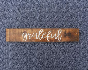 Grateful Sign - Wood- Painted