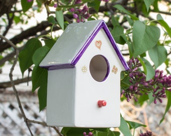 Hanging Ceramic Bird House, Pottery Bird House, White purple gold lines, Spring Celebrations Garden Art, Home and Garden, Birds