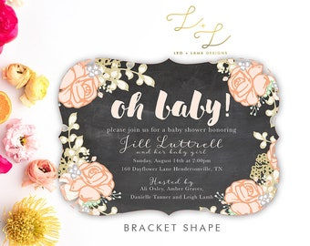 Johnny and June Baby Shower Invitation - Chalkboard Floral Baby Shower Invitation - Printable or Printed Baby Shower Invite