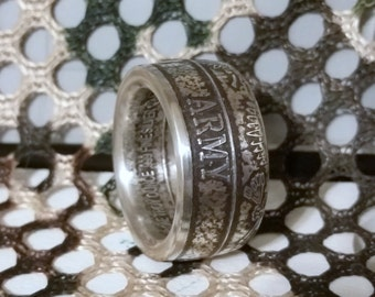 United States Army Ring - Wide Band Silver Coin Ring - Handcrafted From A 1 Troy Ounce Of Fine Silver Coin