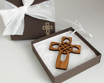 Four Apostles Cross - Celtic Knot Wood Cross Ornament Gift Box Set