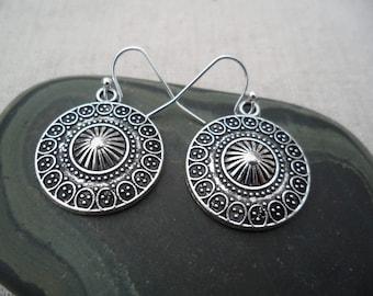 Silver Bohemain Earrings - Simple Everyday Silver Earrings - Boho Chic Earrings