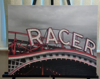 Racer Roller Coaster Photo, selective color HDR photo, black, white, and red, 16 x 20 Canvas photo print, Racer