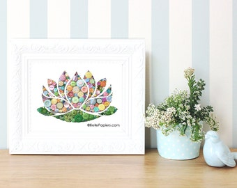 Spring Decorations | Lotus Wall Art | Water Lily Decoration | Waterlily Decor | Button Art | Button Flowers | Swarovski Crystals | Waterlily