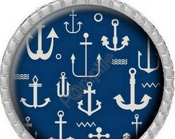 Pendant Cabochon - anchors Navy (606)