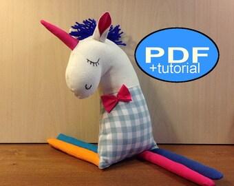 unicorn pattern unicorn sewing pattern unicorn sewing tutorial DIY unicorn cloth doll pattern stuffed unicorn PDF Doll Pattern soft unicorn