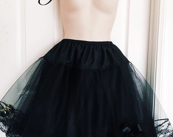 "100 % Handcrafted 18""- 21"" Layers Black Satin Gothic Lolita Petticoat ( Made To Order )"