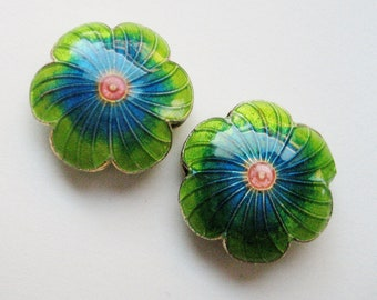 18mm Turquoise & Green Flower Beads - (Base) Metal, Enamel - 2 pieces