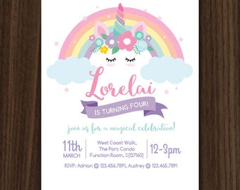 DIGITAL FILE Unicorn Invitation, Unicorn Invite, Unicorn Party, Unicorn Birthday, 5x7 inch