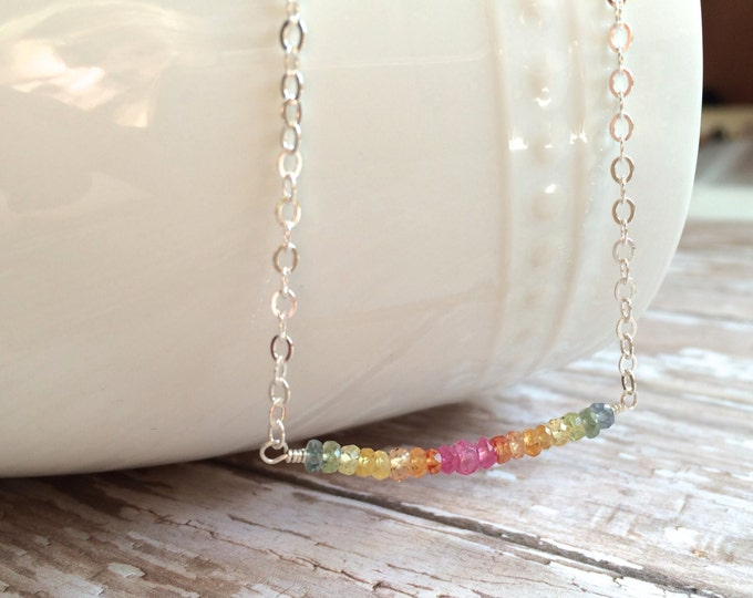 "Multi Colored Sapphire Necklace--16"" Perfect for Layering"