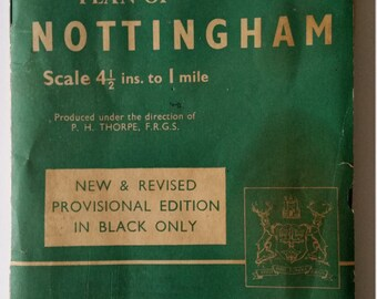 Vintage Map Of Nottingham. Vintage Geographia Plan Of Nottingham-New & Revised Provisional Edition. Vintage Map Of Nottingham Cloth Version