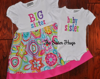 Big Sister Little Sister Outfits Set - Dress Bodysuit Set - Baby Sister Big Sister Shirt - Baby Gift - Coming Home Outfit