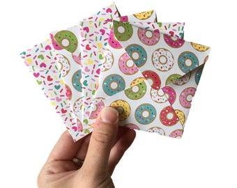 Set of 4 // Mini Square Envelopes // Donut Stationery // Donut Envelopes // Donut Party // Mini Envelopes // Square Envelopes