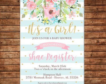 Girl Invitation Watercolor Floral Baby Bridal Shower Birthday Party - Can personalize colors /wording - Printable File or Printed Cards