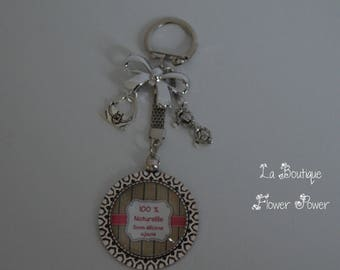 "Keychain, bag ""100% natural, propylene glycol free"" humor added message charm"